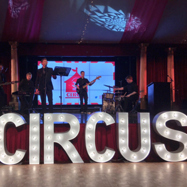 Giant Light Up Letters spelling Circus for a Corporate Event