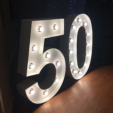 Giant Light Up Letters for a 50th Birthday Party