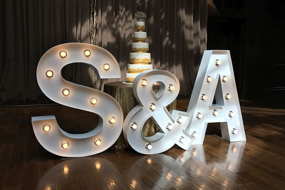 Wedding hire of Chair Covers and Giant Light Up Letters