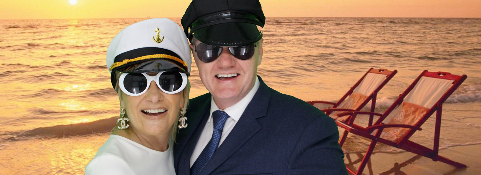 Green Screen image of Beach behind guests at a Party Photo Booth Hire