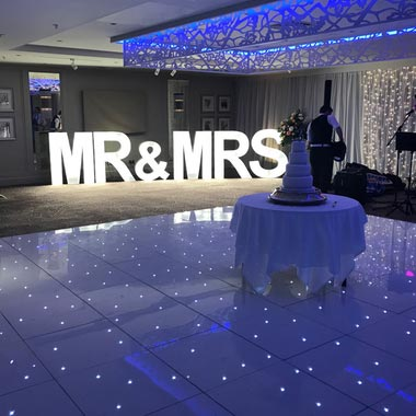 White LED Dance Floors set up for a Wedding in Edinburgh