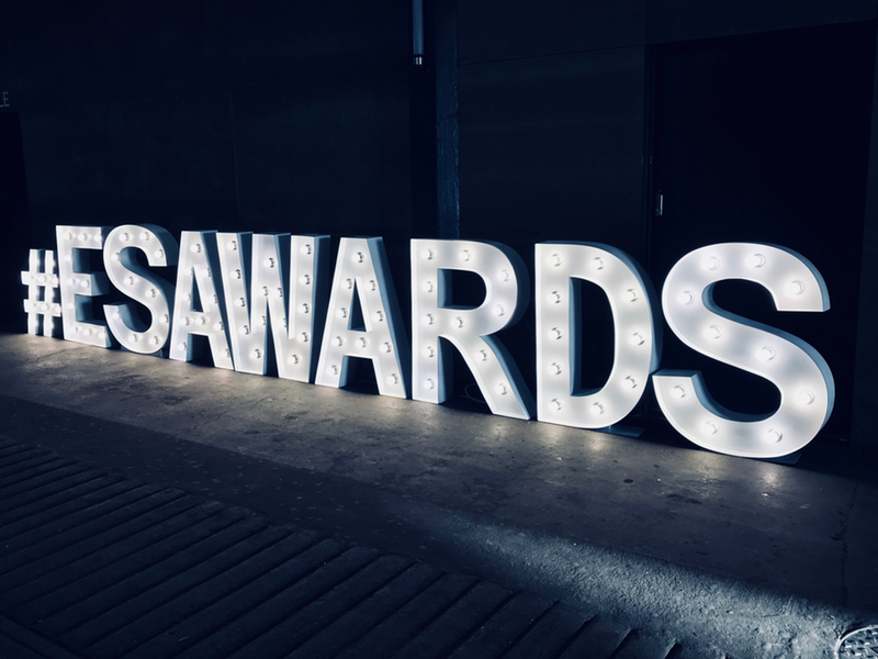 Light Up Letters spelling ES Awards hired for Corporate Events