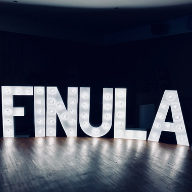Giant Light Up Letters spelling the name Finula for a Birthday Party Hire