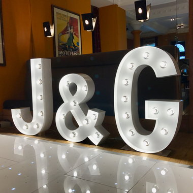 Giant Light Up Letters hired for an engagement party