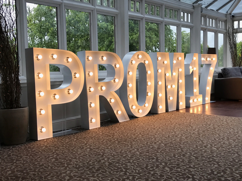 4ft Giant Light Up PROM Letters; perfect addition with a Party Photo Booth