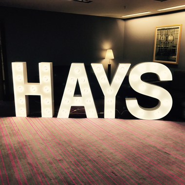 Light Up Letters used to spell the name Hays for a Corporate Events