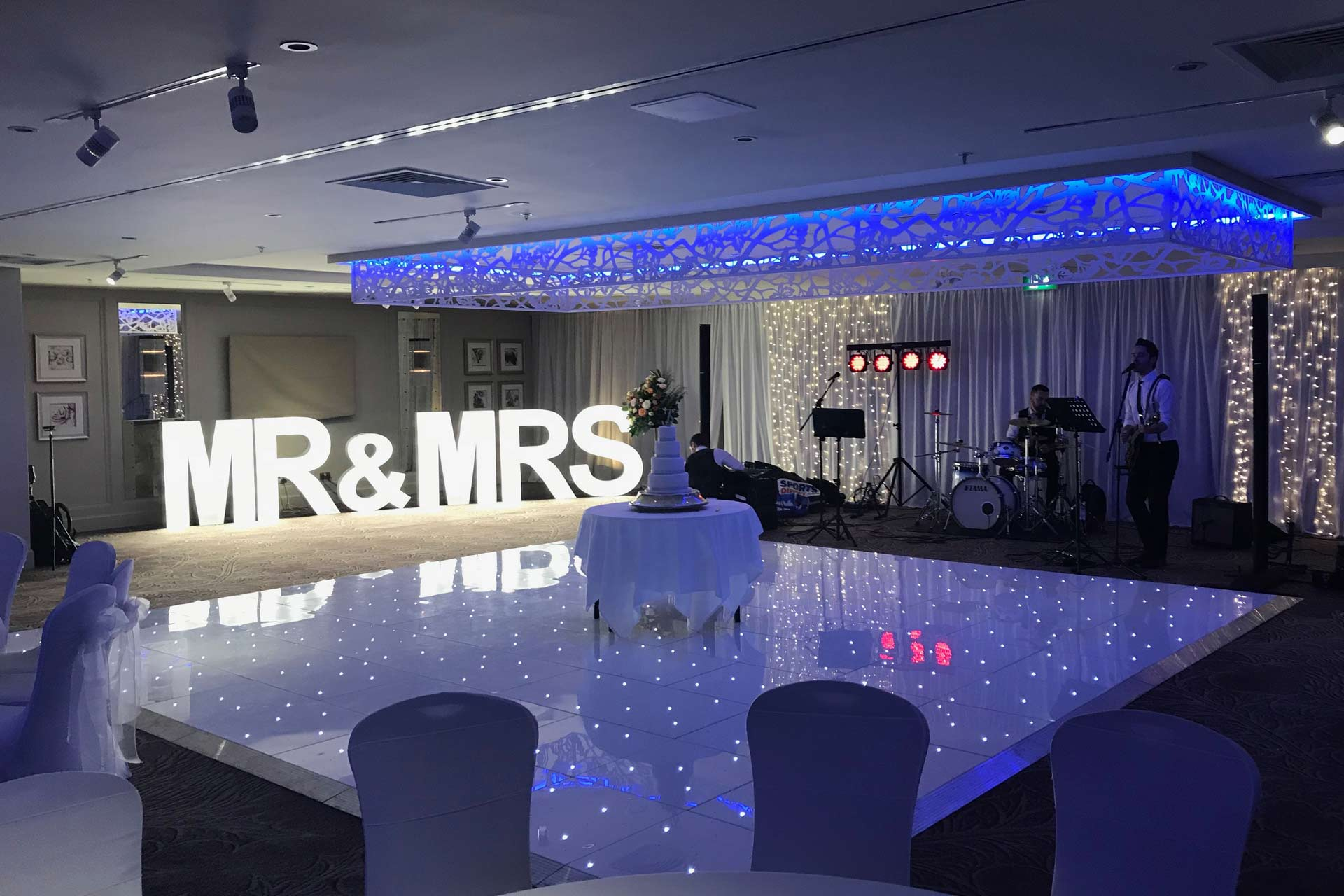 Wedding Set Up of LED Dance Floors, Light Up Letters and one of our Photo Booths