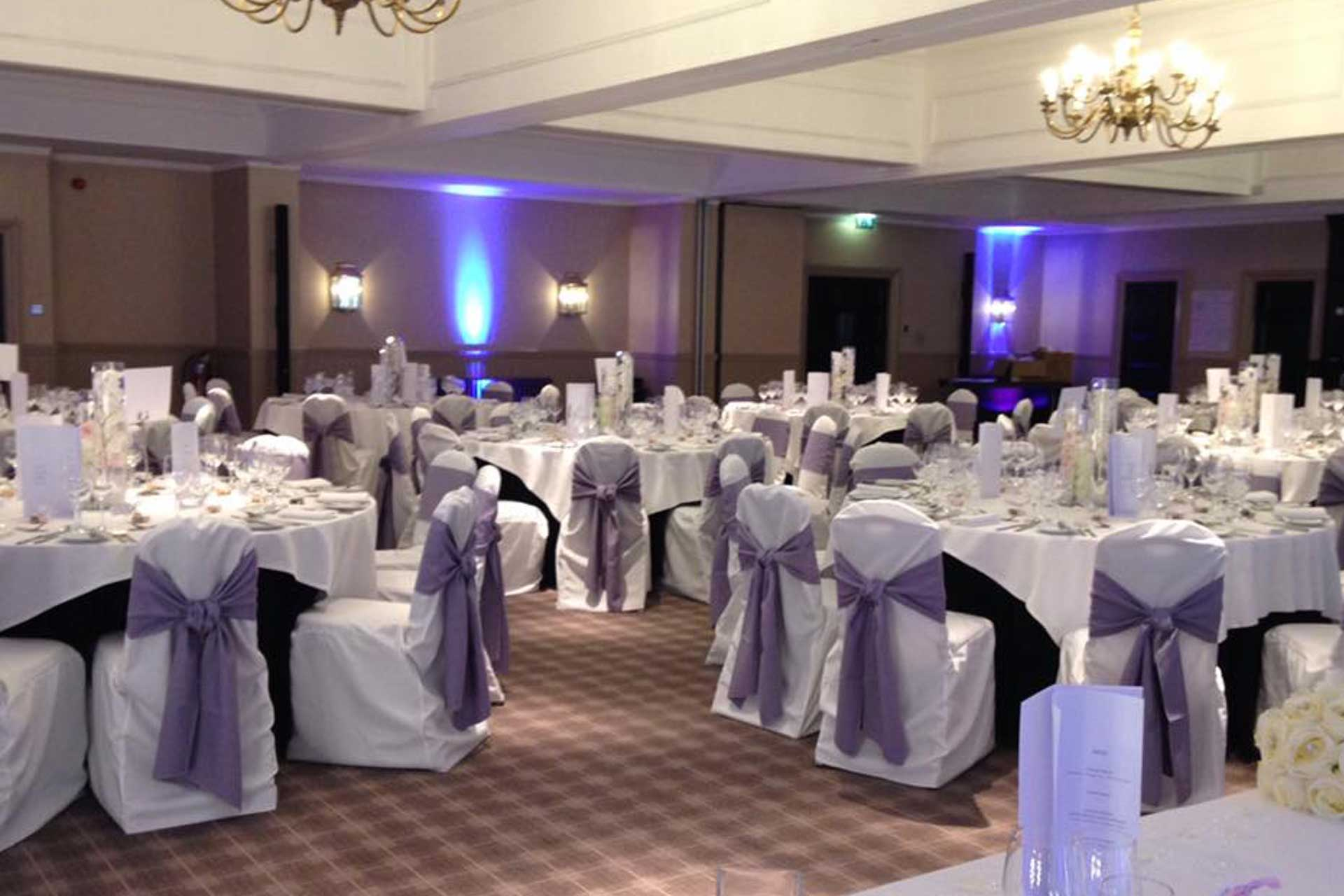 Chair Covers and Bows for a Wedding Package that included one of our Photo Booths and an LED Dance Floor