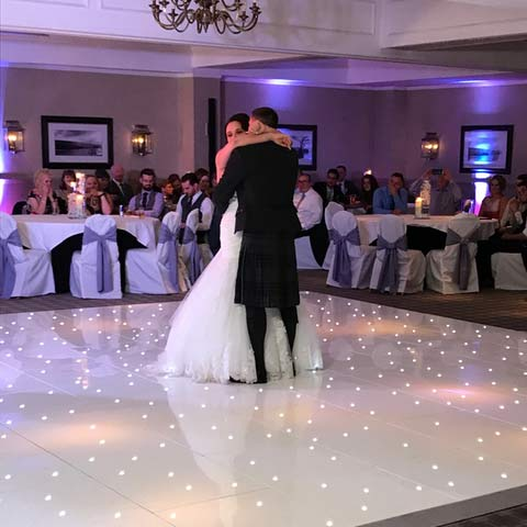 White LED Dance Floors for a Wedding at Cameron House in Loch Lomond, hired with one of our Photo Booths