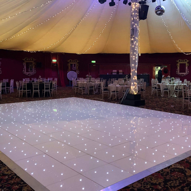 Extra Large White LED Dance Floors set up at Prestonfield House Hotel in Edinburgh