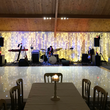 One of our 20ft x 20ft White LED Dance Floors Hired at The Cruin Loch Lomond