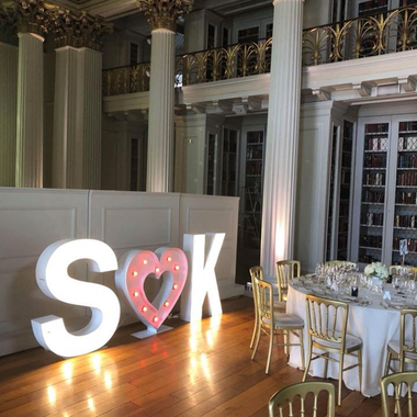4ft Giant Light Up Letters Wedding Initials with Love Heart in the Middle