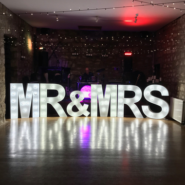 4ft Giant Light Up Letters spelling Mr & Mrs hired for a Wedding