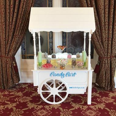 Traditional Wooden Candy Cart hired for a Wedding