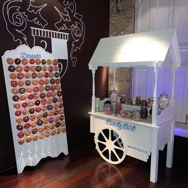 Candy Cart and Donut Wall for 21st Birthday Party