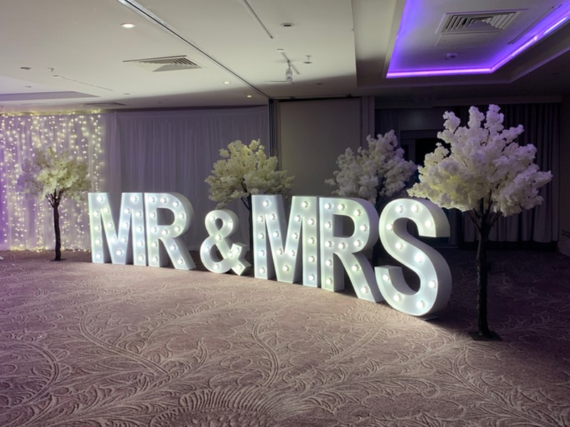 Mr & Mrs Letters with Cherry Blossom Trees