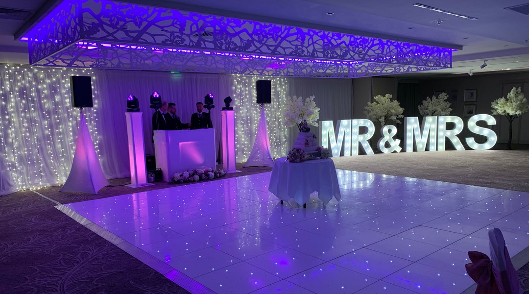 LED Dance Floor with Mr & Mrs Letters and Cherry Blossom Trees