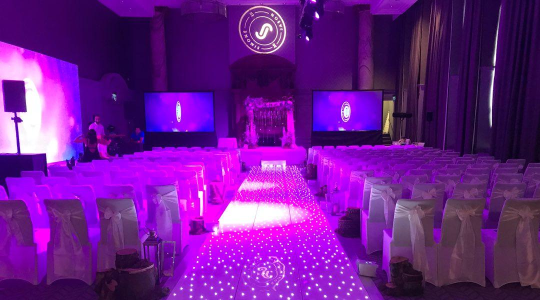 Wedding Aisle made from LED Dance Floor tiles.