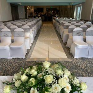 30ft White Wedding Aisle from an LED Dance Floor