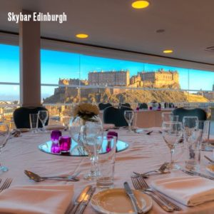 Skybar in Edinburgh looking onto the castle