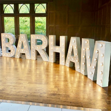 Full alphabet of Light Up Letters allowing us to spell out any surname.